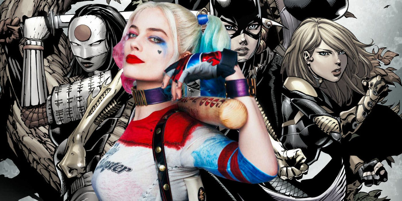 Margot Robbie as Harley Quinn With Birds of Prey Comic Background 1