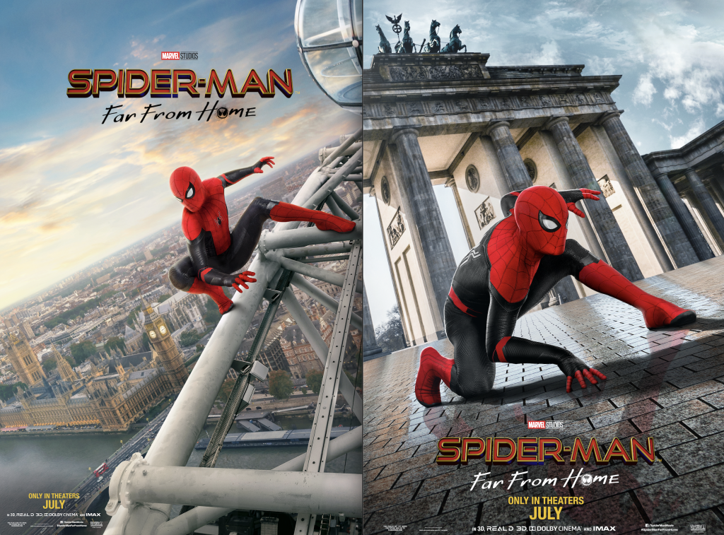 spider man far from home posters side by side